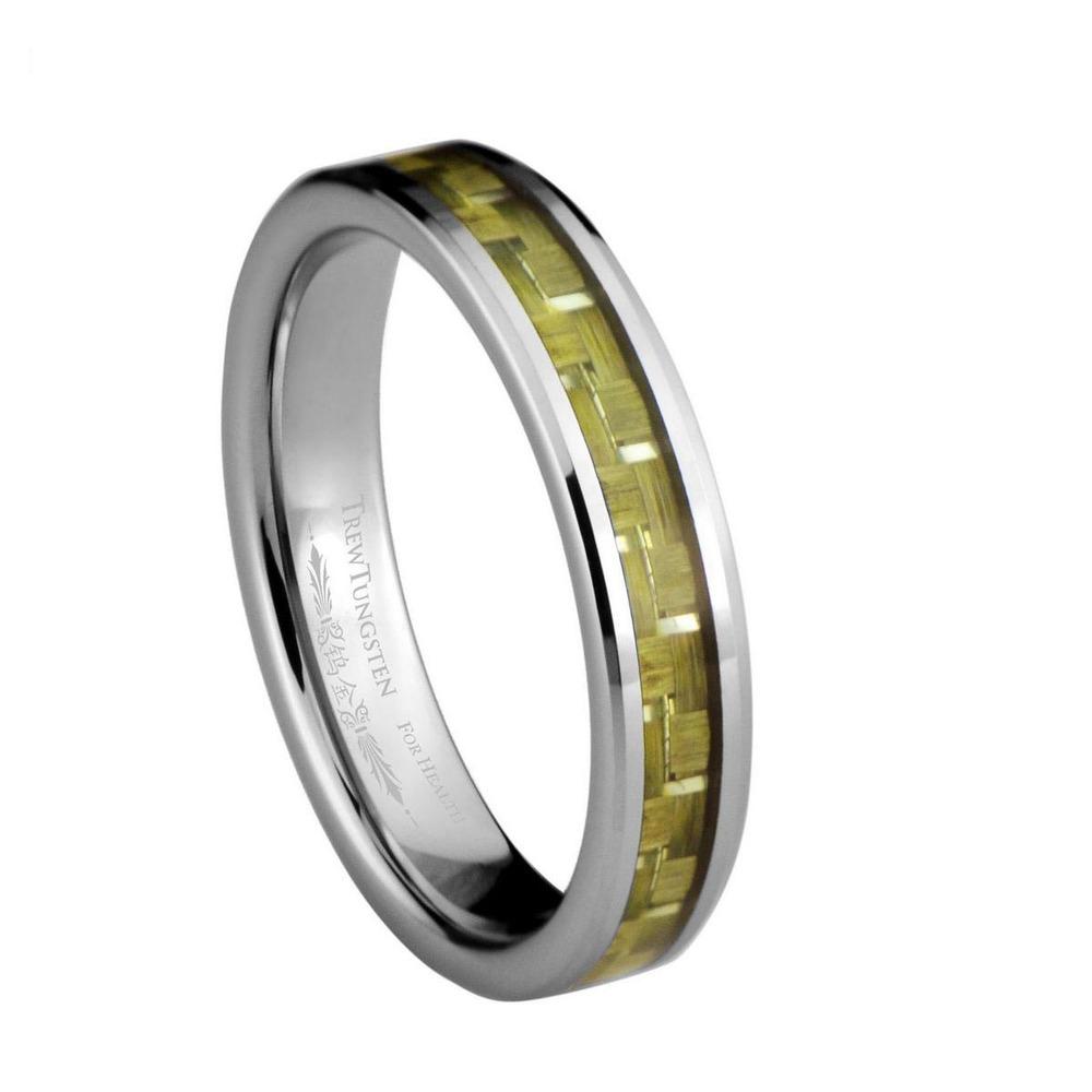 Yellowy e prata fibra de carbono Inlay carboneto de tungstênio largura de banda de 4 mm / TURI0023L(China (Mainland))