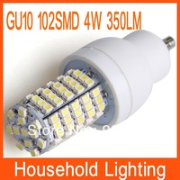 GU10 4W 350-Lumen 102*3528  220V SMD LED White/Warm White Light Bulb Free Shipping 80925 80926
