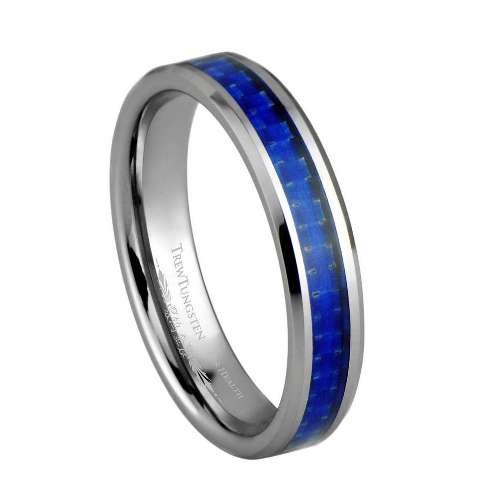 Azul marinho fibra de carbono Inlay tungstênio largura de banda de 4 mm / TURI0022L(China (Mainland))
