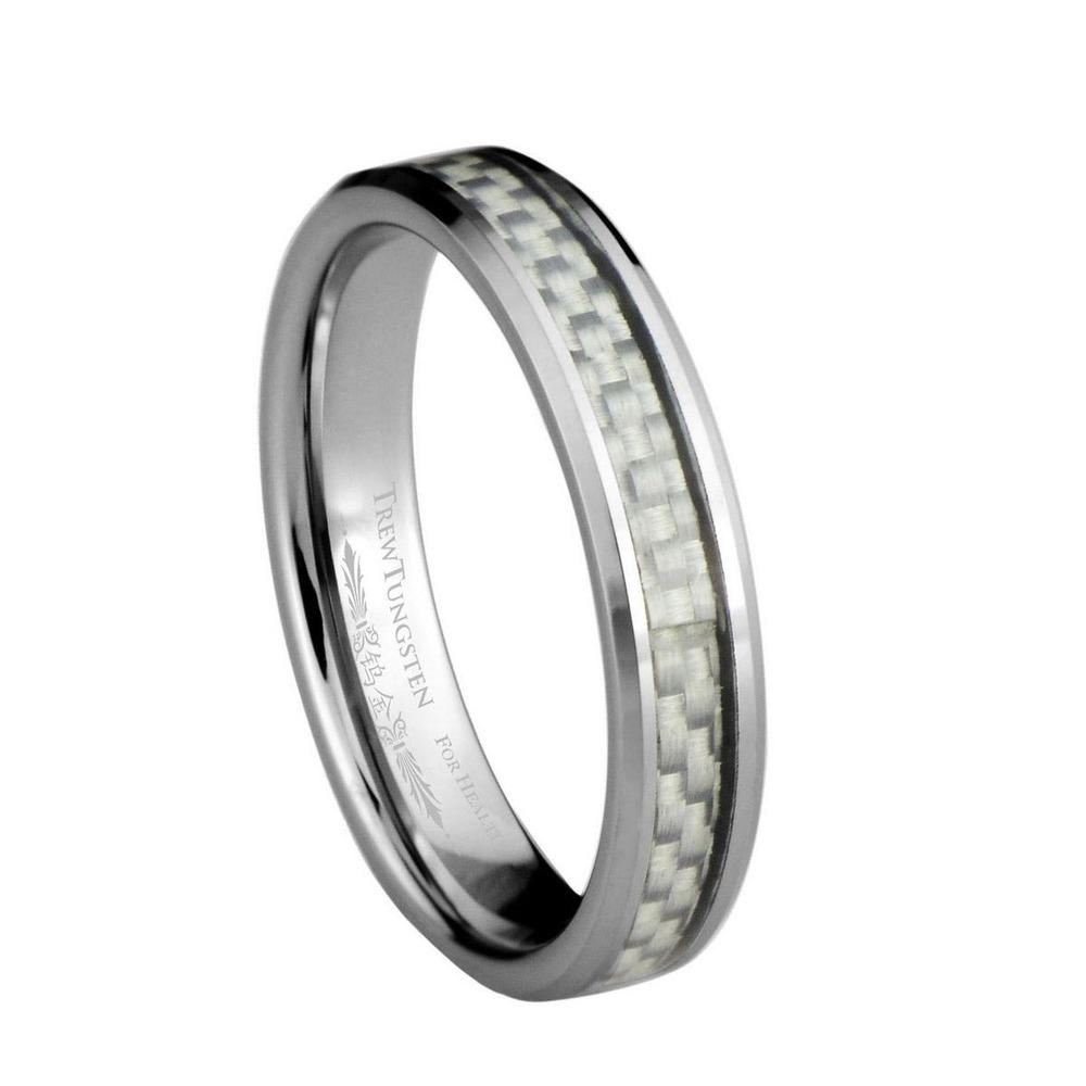 Branco fibra de carbono Inlay carboneto de tungstênio largura de banda de 4 mm / TURI0025L(China (Mainland))