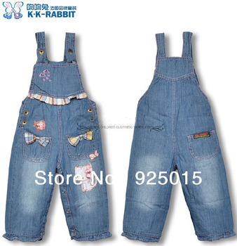 2013 Toddler Girl Denim Vest Jean Jumper Bow  Plaid Girl Jeans Overall  Bilayer Export SL1148 Wholesale