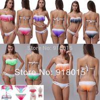 Free Shipping 2pcs Sets Hot Sale Sexy Lady Color Gradient Tassels Pad Fringe Bikink Bra&Bottom Swimwear S M L XL S2