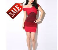 2013 New Fashion Design Sleeveless Red Gradient Sexy Women  Bandage Dress 4285
