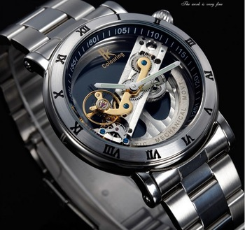 IK colouring Casual automatic mechanical watch, hollow through individual character men full steel fashion dress sports watches