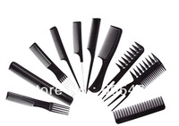 10Pcs Black Plastic Combs Set Hair Styling Hairdressing Hairdresser Barber Salon