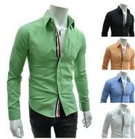 Free shipping,2014 hot sale long sleeve mens/male Casual fashion Slim Stylish shirts/clothing 5color