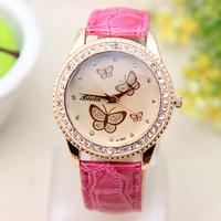 10 colors Fashion PU leather Watch Butterfly Women Rhinestone  Watch Women Dress Watch 1piece/lot BW-SB-183