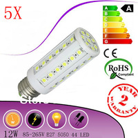 5X  E27 110/220V 5050 SMD 44leds 12W white/warm white Led corn light bulb lamp 360 degree