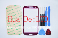 Galaxy SIII S3 I9300 Front Glass Screen Lens Panel - Red +Tools adhesive