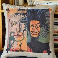 "Free Shipping 18"" Basquiat Graffiti No.4 Retro Vintage Style Linen Decorative Pillow Case Pillow Cover Cushion Cover"