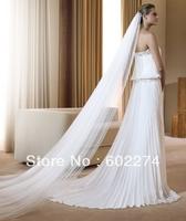 2013 Full Yarn Encryption Soft Net Wedding Train Double Layer Veil Free Shipping