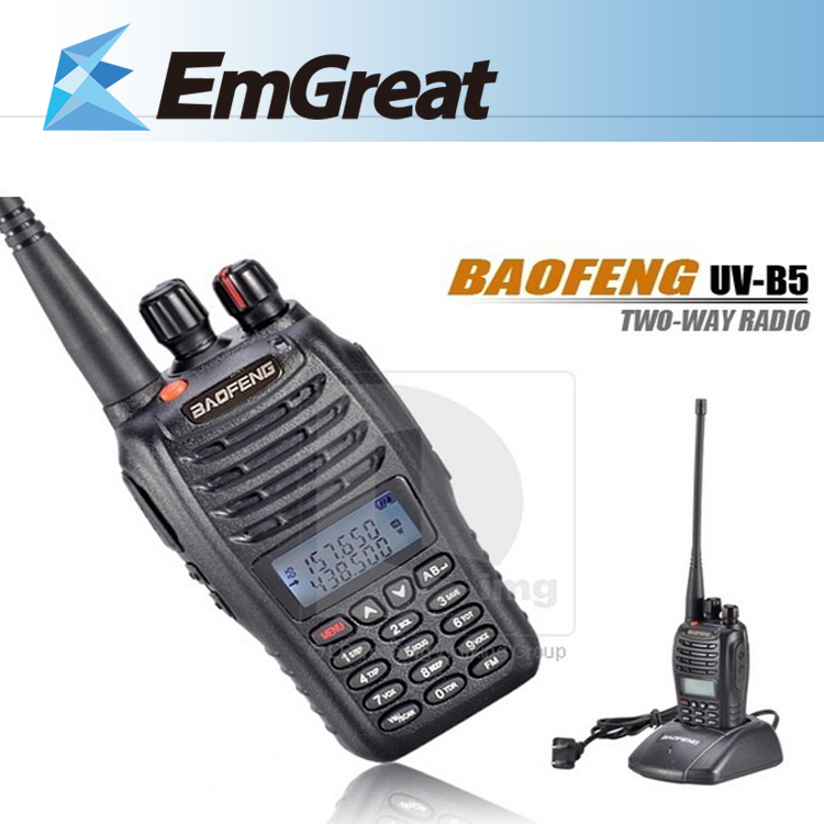 BAOFENG UV-B5 walkie talkie VHF 136-174 UHF 400-470MHz Dual Band Watch Standby Two-Way Radio 016070 Free shipping(China (Mainland))