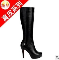 size34-39 2013 fashion women's autumn winter black round toe rome gladiator style platform high-heeled high boots hh430