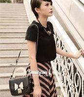 Free shipping! Smilyan lady vintage bow messenger bag color block bag female
