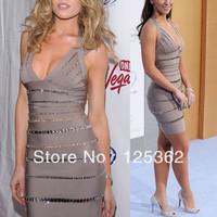 Designer Brand Celebrity Wear Embellished Diamond Bandage Dresses 2014