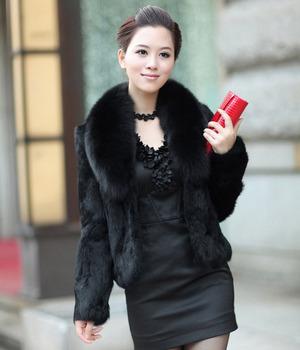 Large fox Мех Полный leather rabbit Мех coat Женщины Короткий rabbit Мех jacket Талияcoats ...