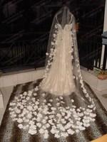 The bride married single tier veil quality soft romantic petals net veil 2015
