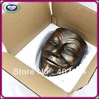 Free Shipping China Manufacturer Hot Selling Bronze New High-grade Resin Mask V For Vendetta Anonymous Vendetta Masks V Vasks