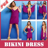 2013 Hot Women Open-Back V Neck Swimwear Bikini Cover Up Bath Towel Beach Dresses 200pcs Free Shipping