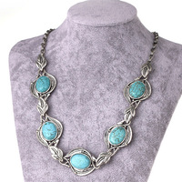 8.19Free Shipping,New Arival Vintage Jewelry,Fashion Turquoise Choker Necklace for Women,Turquoise Stone Jewelry