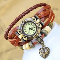 Vintage Watches Peach Heart knot Analog Pendant women Dress Watch Hollow Carved Quartz Leather Strap Women Dress watch