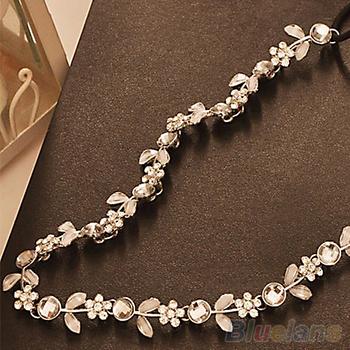 Fashion Women's Hot New Silver Crystal Rhinestone Flower Elastic Hair Band Headband Hair Accessories Free Shipping 1JG3