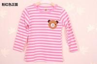 Free shipping Winnie the fall fashion cotton long-sleeved striped T-shirt primer shirt wild girls clothing