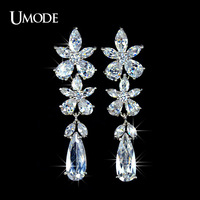 UMODE For Party and Wedding Flower Pure Swiss Diamond Dangling Earring UE0024