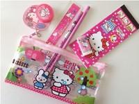 Hello Kitty Stationery Set Eraser Sharpener Ruler Sticker Pencil Case Bag