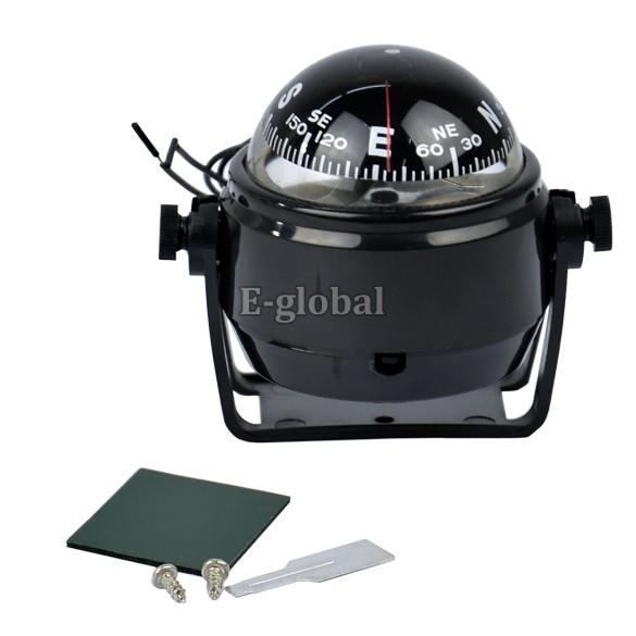 6pcs/Lot Wholesale Marine Sea Pocket Travel Electronic Digital Compass DC 12V LED Light Black Sea Boat Navigator TK0166(China (Mainland))