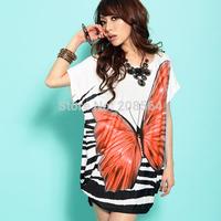 New Arrival Women's Bohemian Loose Dress Summer Dress Butterfly Pattern Thin Blouse Tops  425