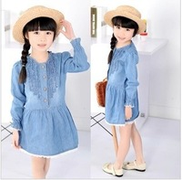 2013  children's wear new and fresh leisure thin cowboy cotton long sleeve dress free shipping