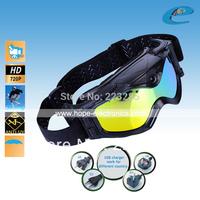 Skiwear snow goggles ski sports dvr video recorder Wide angle camera HD 720P , 5M Pixel COMS Camera free shipping