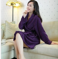 Spring and summer white elegant noble comfortable bathrobe coral fleece sleepwear women's slim lacing robe