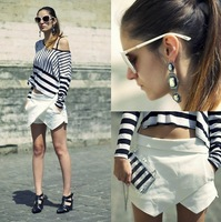 ZA** 2013 New Arrival White/ Black/ Navy Blue Fashion Summer Irregular Asymmetric Tiered Shorts Trousers Culottes Pants S/M/L