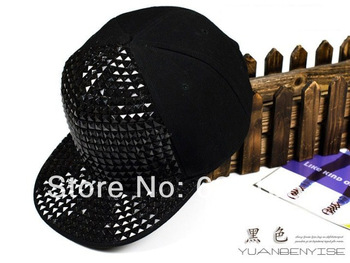 New 2014 spring Pyramid Plastic Studs Bling Flat Hip Hop Cap Rivet Hat Rock Punk White Silver  Pyramid free shipping