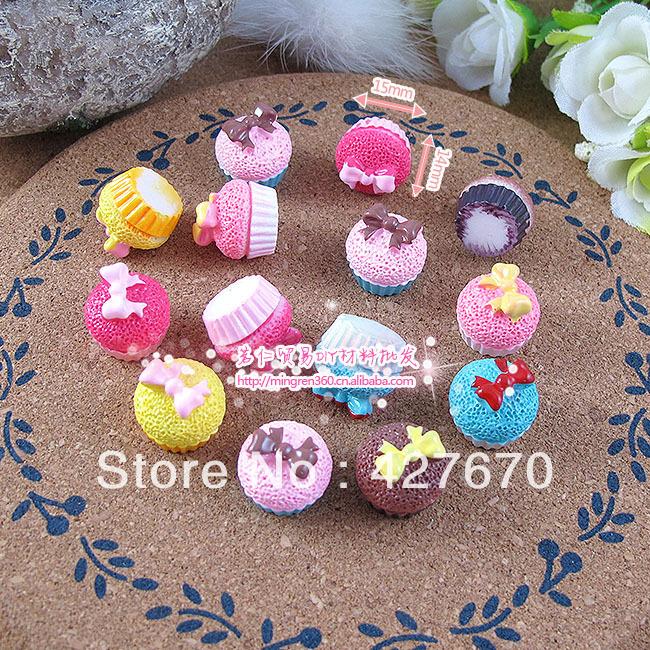 Free shipping flat back resin Bow Cupcake 10pcs 15mm mixed kawaii cabochons crafts DIY home embellishments wedding decorations(China (Mainland))