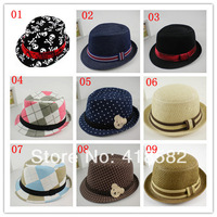 NXM004-9 models  Children Summer Hat Baby Fedora Hat Kids Jazz Cap Baby Straw Cowboy Hat Boys/Girls Fedoras Dicers 5 pcs /lot