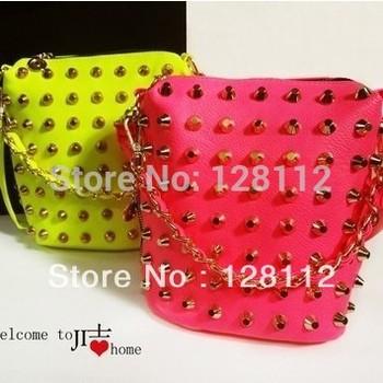 Fashion 2014 neon chain messenger bag women's candy color rivet handbag shoulder bag free shipping PU leather ladies duffel bags