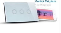 High Quality  AC110-240V 3 Gang Touch Light  Wall Switch  Tempered Glass Panel with Blue LED Indicator