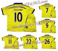 2014-15 EPL Chelsea away yellow soccer jersey suits kids children football sweatshirt   Hazard #10 19 # DIEGO COSTA  8 # LAMPARD