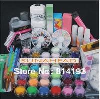 Pro Acrylic Powder Liquid KIT UV NAIL ART TIPS Clipper Stickers Brush Free Shipping by HK post