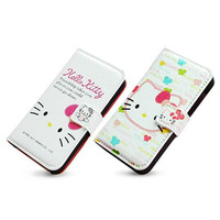 Cute Lovely pink Cartoon Hello Kitty Leather Case Cover skin for iPhone 4 4SFree Shipping Retail