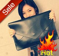 2014 Fashion  brand name free shipping color block messenger bag briefcase file envelope bag day clutch bag  female handbags