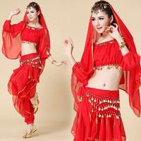 5 pcs top pant belt veil bracelets Indian dance performance wear dance costume lantern sleeve performance wear chiffon outfit