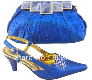 CSB1003 five colors Italy style woman high heel shose with crystal metal frame clutch in pu material