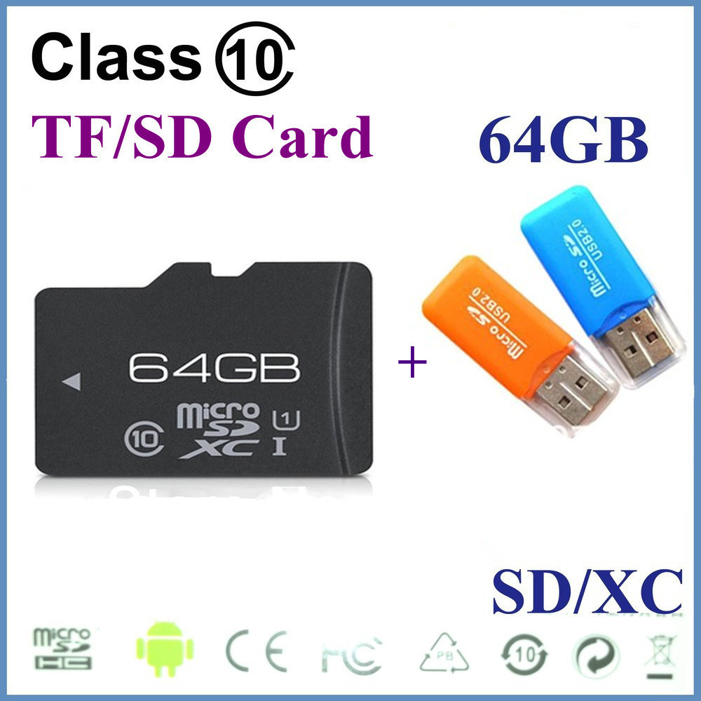 Memory Card SDHC Card 64GB Micro SD Memory Card TF 8GB 16GB 32GB 64GB with free adapter and free TF card reader free shipping(China (Mainland))