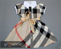 France hot!!! new design,high quality,Girls dresses pure cotton Plaid dress bowknot belt girls clothes 3color,5pcs/lot,wholesale
