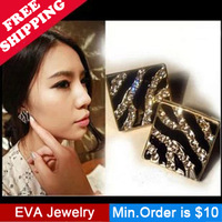 Min.Order is $10.5 A06205  sparkling Full Rhinestone box black oil zebra print leopard print stud earring mix