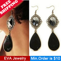 Min.Order is $10.5 A37605 bohemia popular black drop earrings 2013 mix